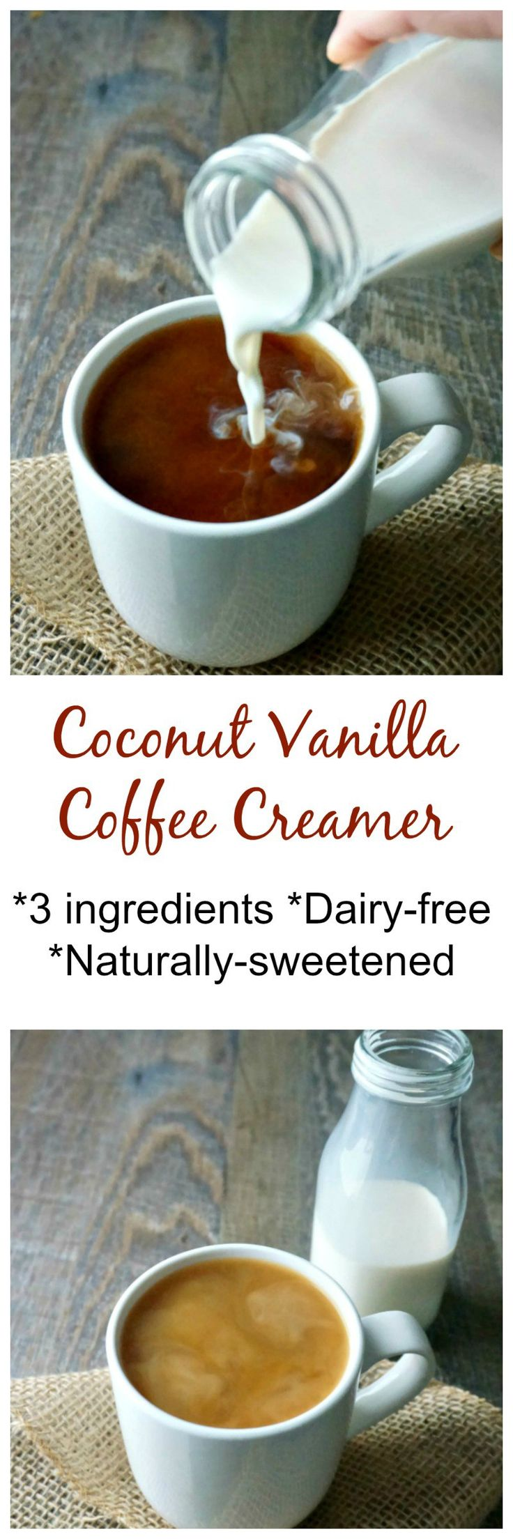 Coconut Vanilla Coffee Creamer: Forget ever having to buy coffee creamer again. 3 ingredients come together to create a rich creamer that is just the right amount of sweet for your morning coffee. #paleo #glutenfree #dairyfree