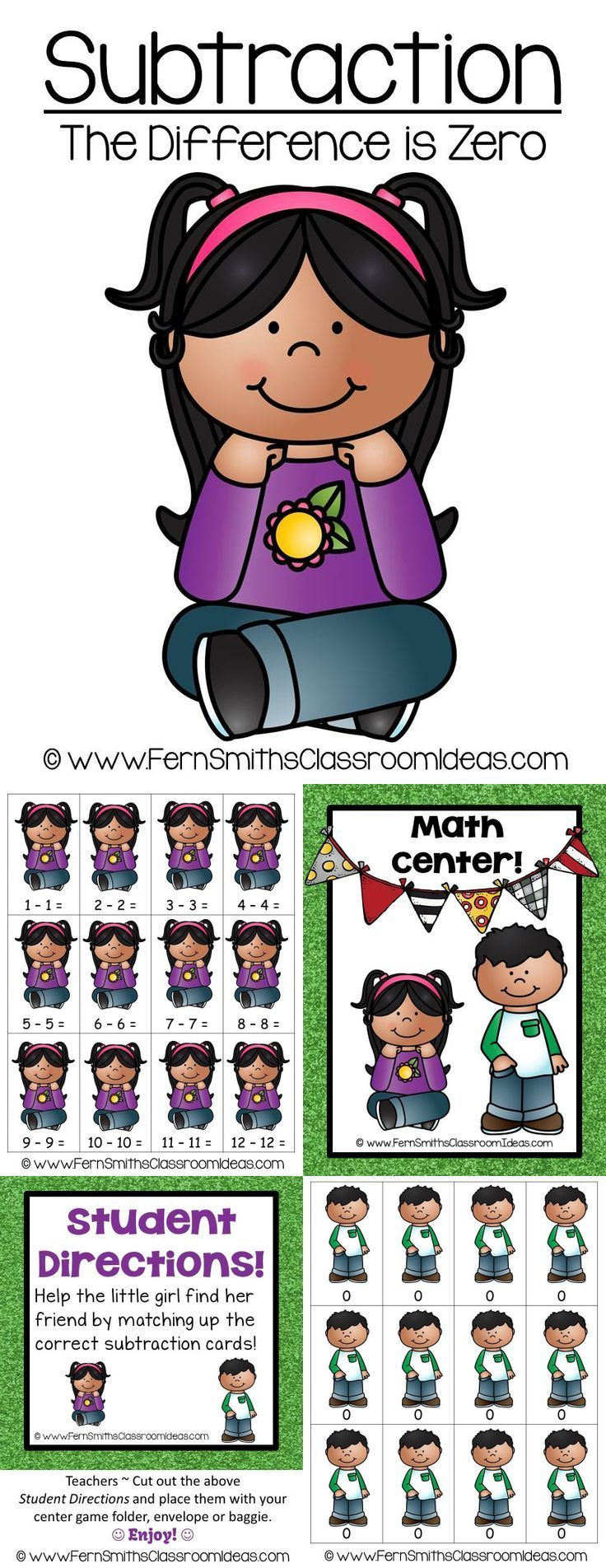 "FREE Math Subtraction Center Game ~ ""The Difference is Zero!"" Concept!"