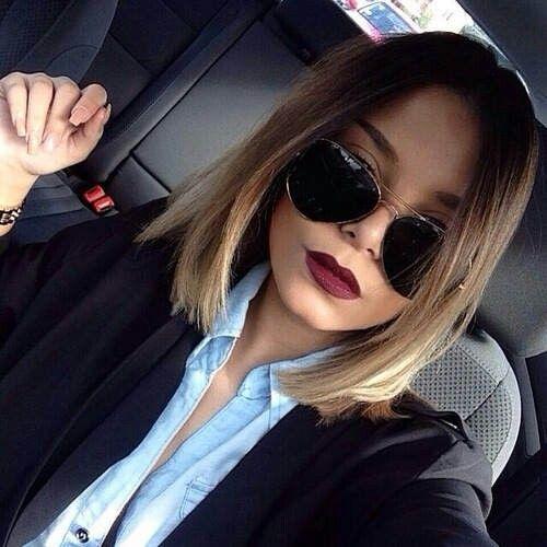 Hair | cut & color | color : ombré - dark brown to medium blonde. Lazy style.