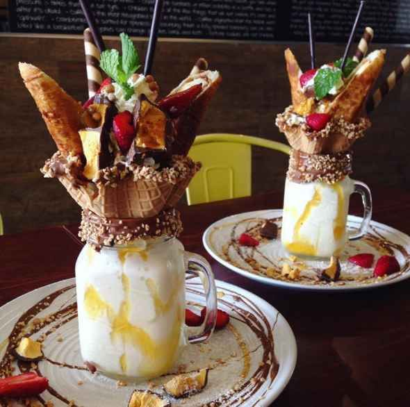 A deep-fried Golden Gaytime milkshake from What the Fudge Cafe, Cabramatta.