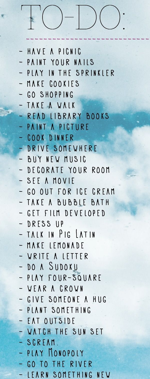 Summer To- Do List