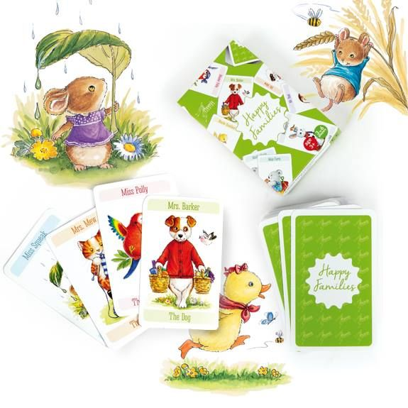 Happy Families Card Game updated with cute animal artwork associated with the quality greeting card designs of Phoenix Trading.