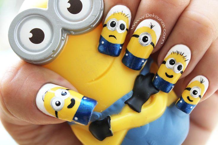 Decoración de uñas Minions - Minions nail art tutorial