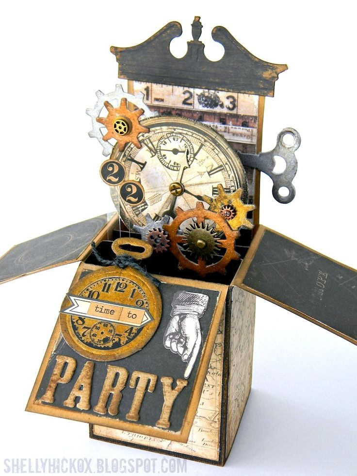 Steampunk Pop-Up Box Card - finally I have found a video for this card which doesn't need a log-in to view it!