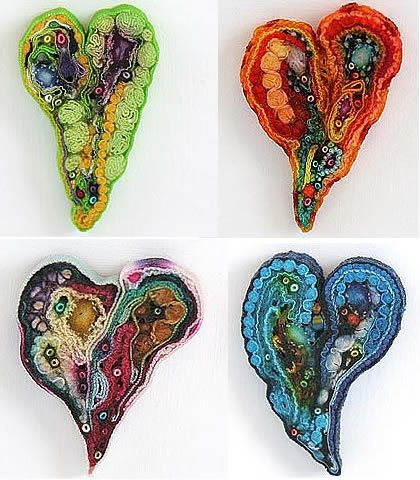 fabric hearts...I love these!!!