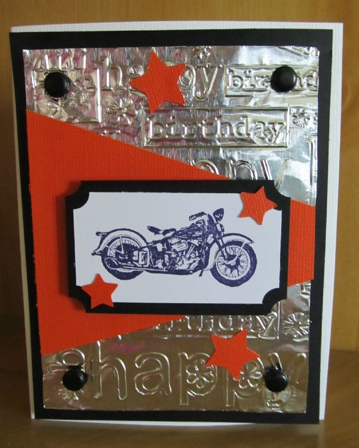 This Handmade Harley Davidson Birthday Card was made using a motorcycle rubberstamp, Old West Cricut Cartridge, and the Cuttlebug.