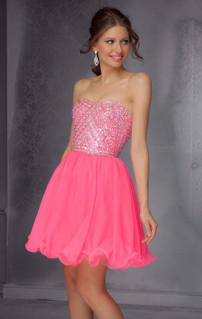2014 Beaded Neon Pink Mori Lee 9282 Chiffon Short Bodice Homecoming Dresses