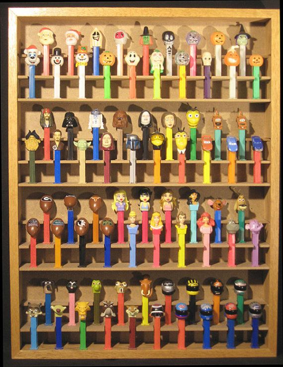 Pez dispenser display case holds 76 FREE by dsbwoodproducts, $80.00