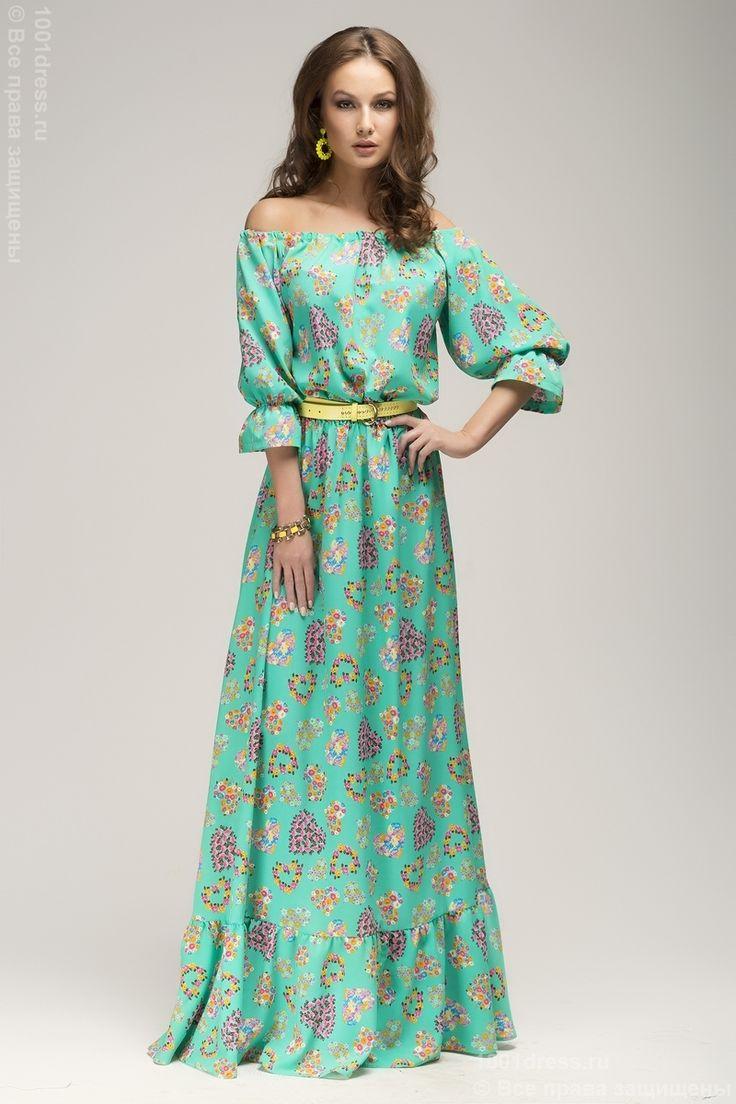 Платье мятное с принтом длины макси и рукавом 3/4 DM00243MN , зеленый в интернет магазине Платья для самых красивых 1001dress.Ru