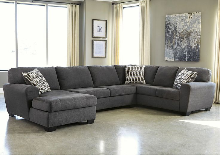 Jennifer Convertibles: Sofas, Sofa Beds, Bedrooms, Dining Rooms & More! Sorenton Slate Right Facing Sofa Sectional w/ Chaise