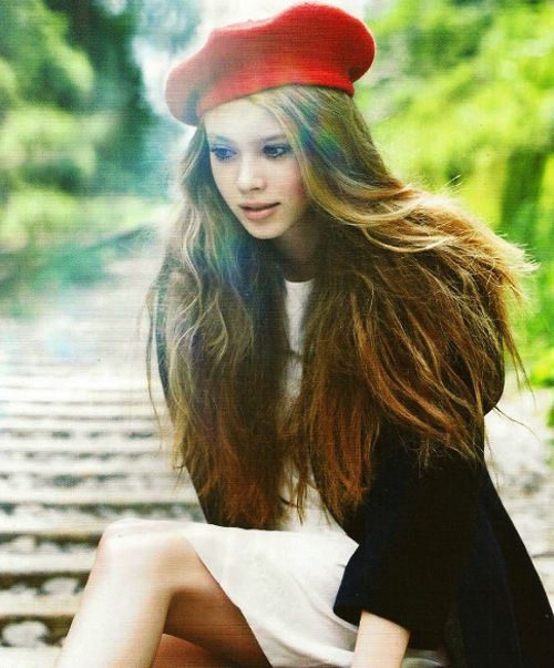 Beret Long Hair Casually Simple Pinterest