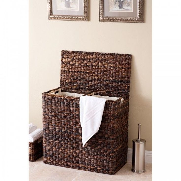 Double Laundry Hamper Sorter Oversized Cotton Canvas Lined Clothes Basket  Sturdy