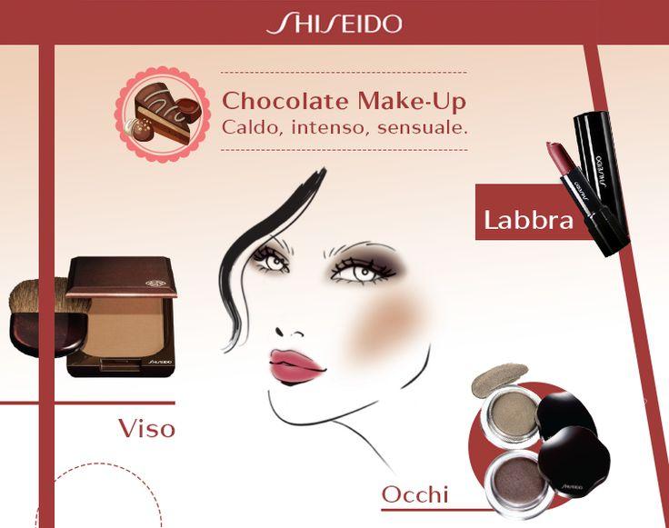 Dai un tocco di dolcezza al tuo settembre con il chocolate #makeup: toni caldi del marrone per gli occhi, polvere di cacao sugli zigomi e #labbra rosse come le fragole! www.shiseido.it