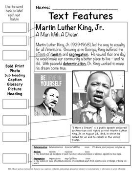 Dr. Martin Luther King Common Core Aligned - Nonfiction (Great Text Feature Handout). Pages are made to use alone or in an Interactive Notebook! Excellent to use the second week in January, leading up to MLK Day on January 16, 2017.