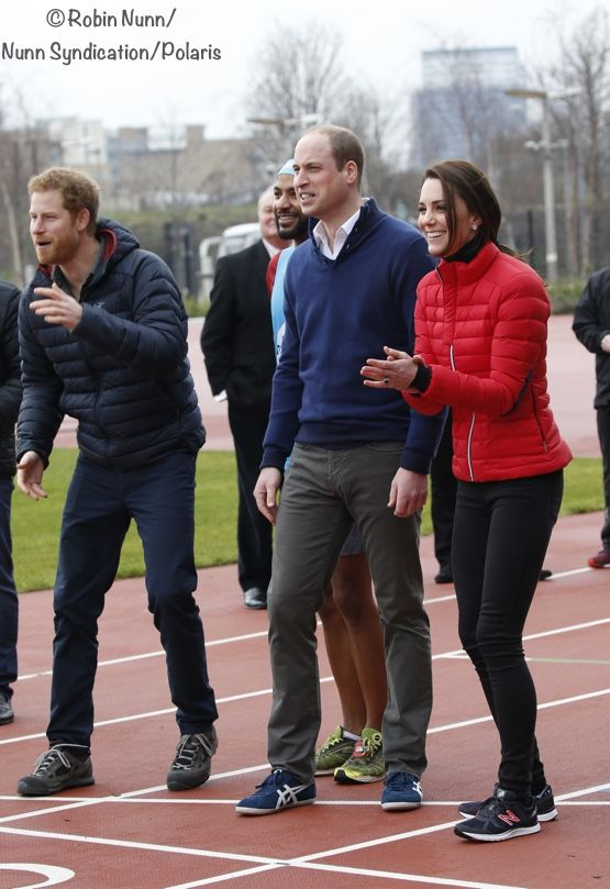 The Duchess joined Prince William and Prince Harry at Queen Elizabeth Olympic Park for a Heads Together training event Feb 5-17. The royal trio ran the first leg of a five person relay at the London Marathon Community Track, each running 50 meters. ©Robin Nunn/Nunn Synidcation/Polaris