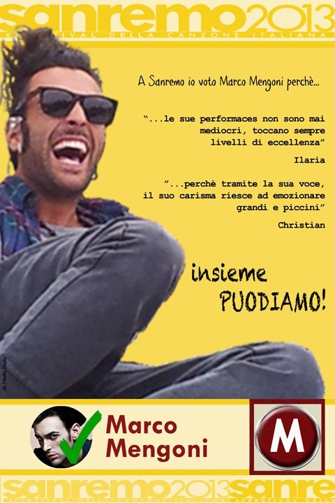 http://youtu.be/7HBSNs_wiVw  Marco Mengoni - Dall'Inferno  A Sanremo voto Mengoni!