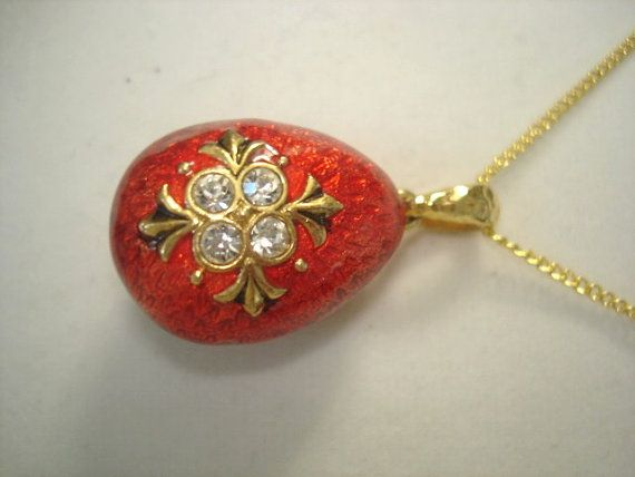 Alexander Faberge estilo esmalte huevo colgante Vintage joyas diamante de imitación oro tono rojo rubí.