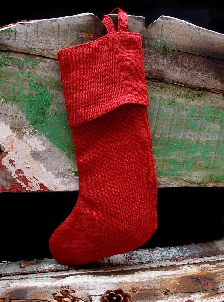 16 Inch Red Burlap Christmas Stockings