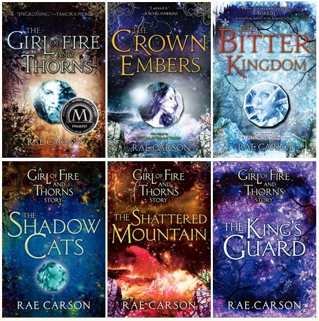The Girl of Fire and Thorns series by Rae Carson.  Don't let this pic fool you, it's a trilogy, the three on the bottom are just novella's.  I am in LOVE with this series!!!! One of the best fantasy series I have read in a long time, absolutely amazing!!!!
