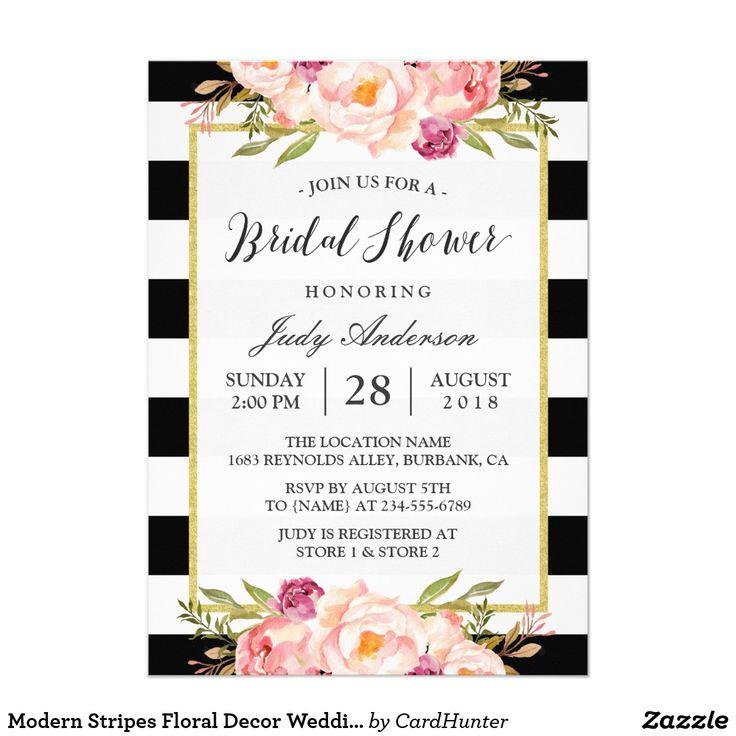 """Decoración floral de las rayas modernas que casa invitación 5"""" x 7"""""""