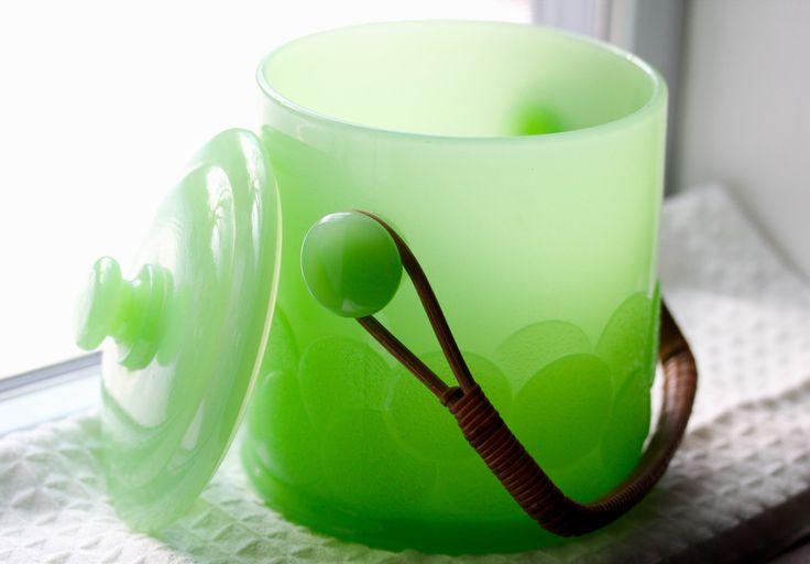 """Fenton Jadeite """"Big Cookies"""" Cookie Jar or Ice Bucket -  Green Milk Glass by TheCuriousSquirrels on Etsy https://www.etsy.com/listing/271076361/fenton-jadeite-big-cookies-cookie-jar-or"""