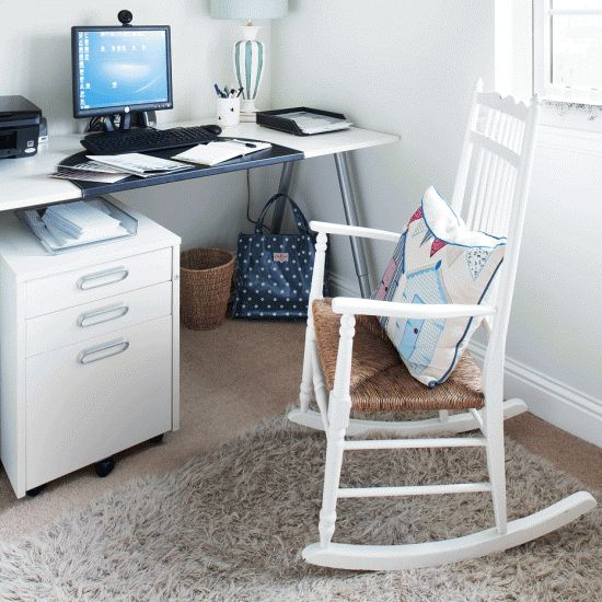 All-white home office | Home office ideas | Home office | PHOTO GALLERY | Style at Home | Housetohome.co.uk