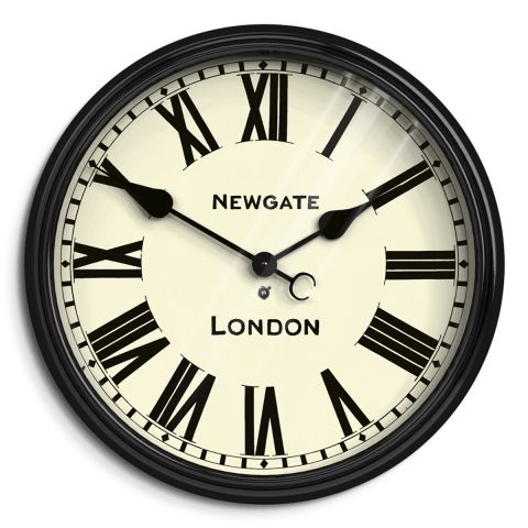 The Battersby wall clock in black by Newgate Clocks. A timeless, classic wall clock. The Battersby is a traditional railway clock design with large Roman dial and moulded black gloss case. Iconic British design | www.newgateclocks.com  #homeware #decor #interior #homeaccesory #clock