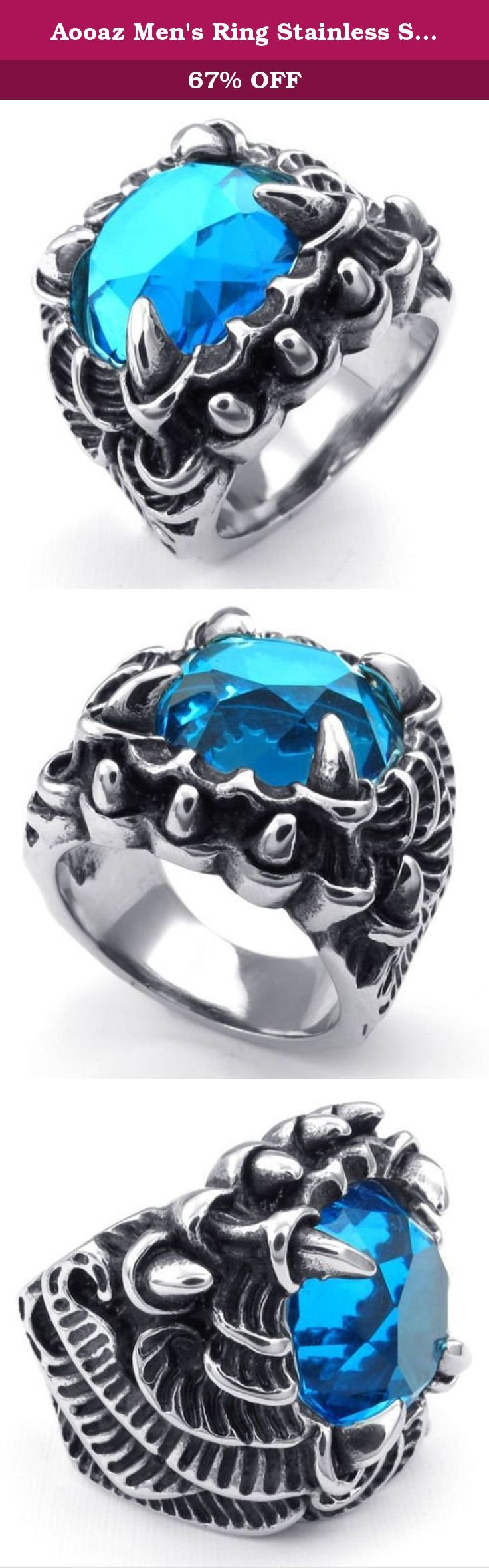 Aooaz Men's Ring Stainless Steel Ring Silver Tone Blue CZ Monster Talon Vintage Retro Gothic Punk Rock. ♥Aooaz A is the bridge of Arch love. OO is overcome and obstruct,it means overcome the obstruct to get their favorite. A is abiding the same as the promise of life abiding. Z is the passion zest to keep the expectations of love.The shape of AA is like a bridge,through the across,brave to follow the heart of the most love. ♥Our products Our product is the most unique product for you and...