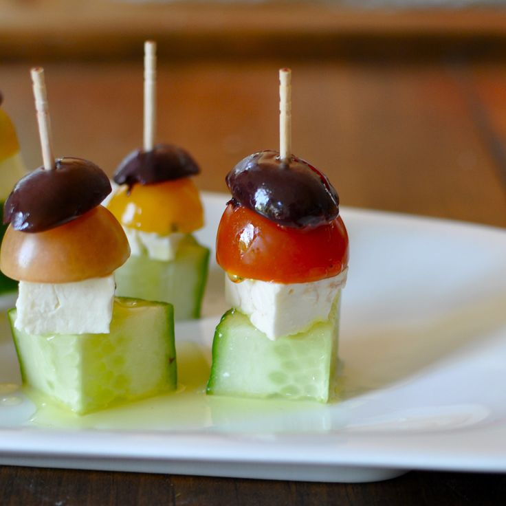 Greek Salad Skewers --- good variation on the caprese skewer