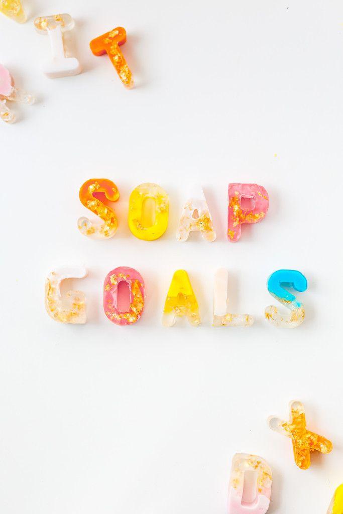 DIY Gold Leaf Colour Block Letter Soaps http://fallfordiy.com/blog/2016/05/16/diy-gold-leaf-colour-block-letter-soaps/