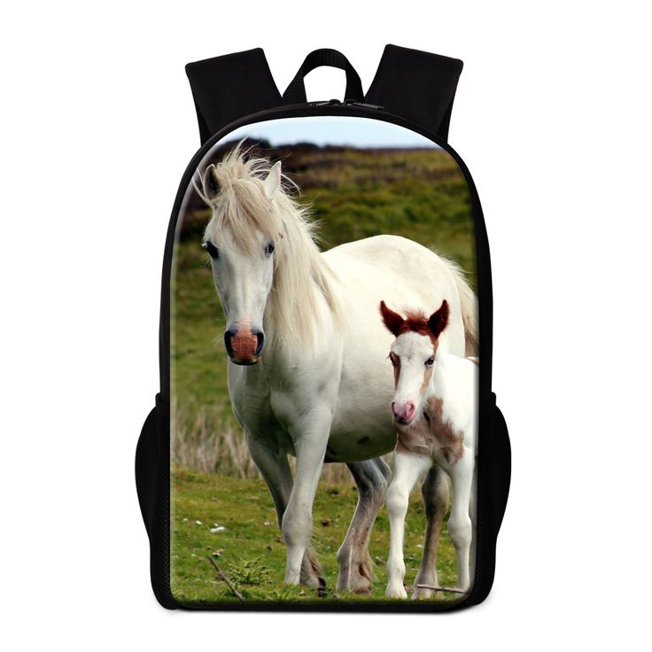 Dispalang 3D zoo animal print backpacks for children customized white horse travel shoulder bag for men women's bagpack rucksack