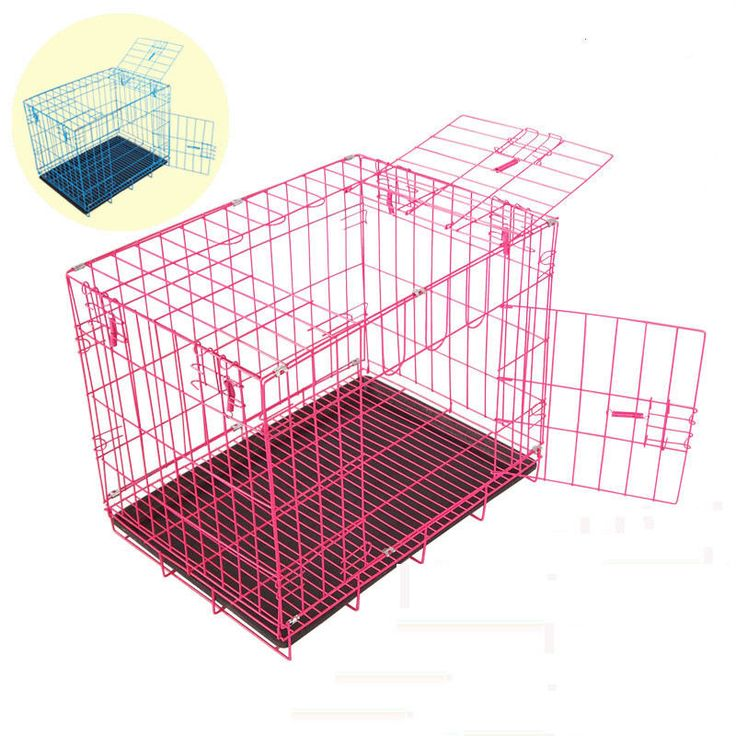 Dog Fordable Iron Steel Cage Cats Rabbit Pets Breathable Safety House with Tray #Unbranded