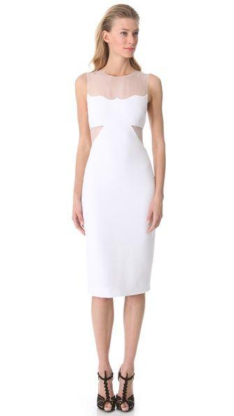 Cushnie et Ochs Sleeveless Dress with Organza Cutouts