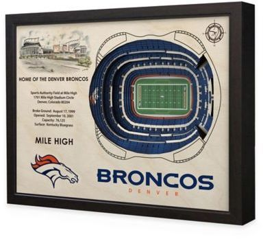 $199.99 - NFL Denver Broncos Stadium Views Wall Art - Complement your sports room, man cave, or office with the officially licensed NFL Stadium Views Wall Art. Ideal for any alumnus, this wall art features a flawless, laser-cut, 3D wooden reconstruction of the Sports Authority Field at Mile High.