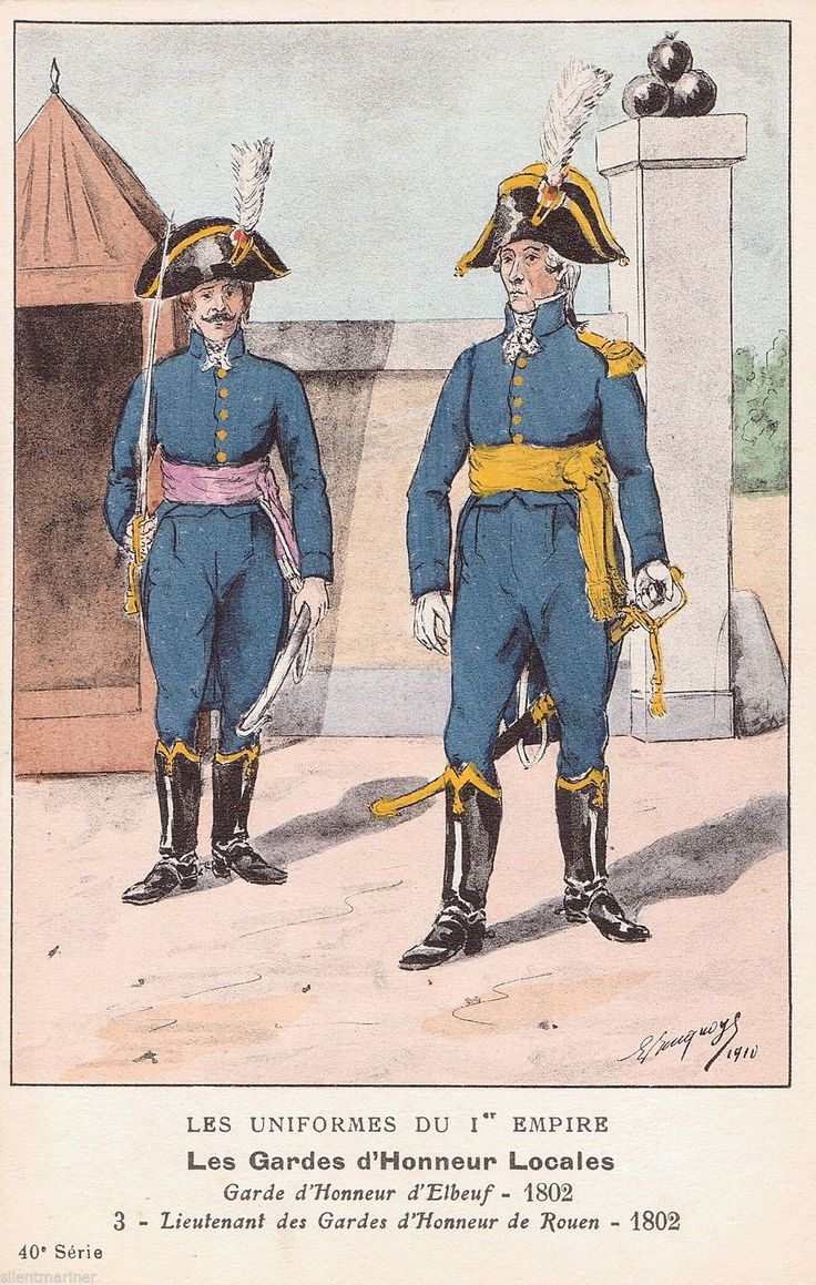 French Military Uniforms Garde D'Honneur D'Elbeuf 1802 OLD Postcard Unposted | eBay