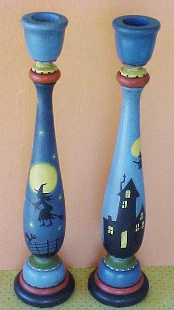 spooky candle holders   Hand Painted Pair Halloween Candle Holders by ToletallyPainted