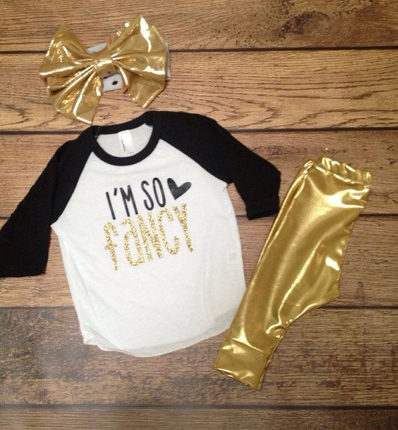 This will be so cute on your Little One!! Made with high quality gold glitter heat transfer vinyl! Makes the perfect gift and will be a hit at