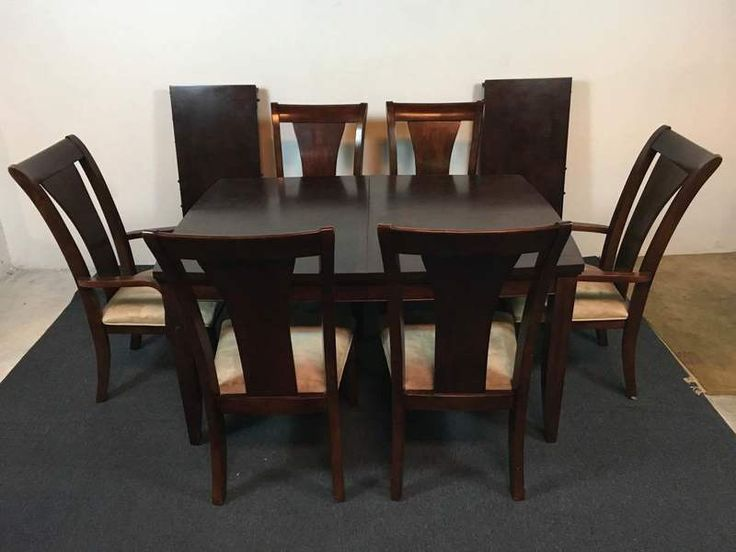 Contemporary Laminate Mahogany Dining Suite with Six Chairs