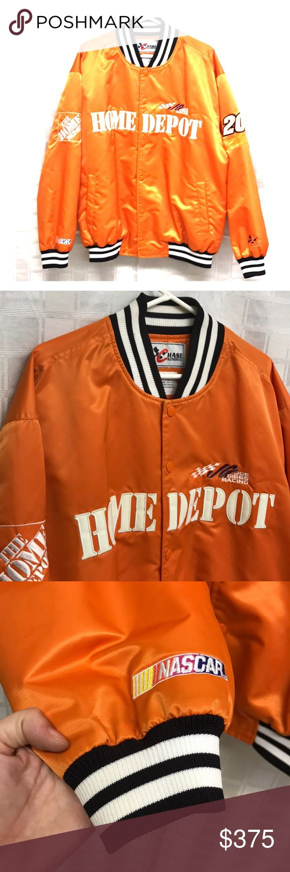 RARE Men's NASCAR Bomber Jacket Bright orange Joe Gibbs Home Depot Bomber jacket size Large. Aside from the pointed out areas in photos, this jacket is in overall excellent condition! Also FYI, someone tried to steal this out of my cart when I was shopping! NEVER!!!! Jackets & Coats Bomber & Varsity