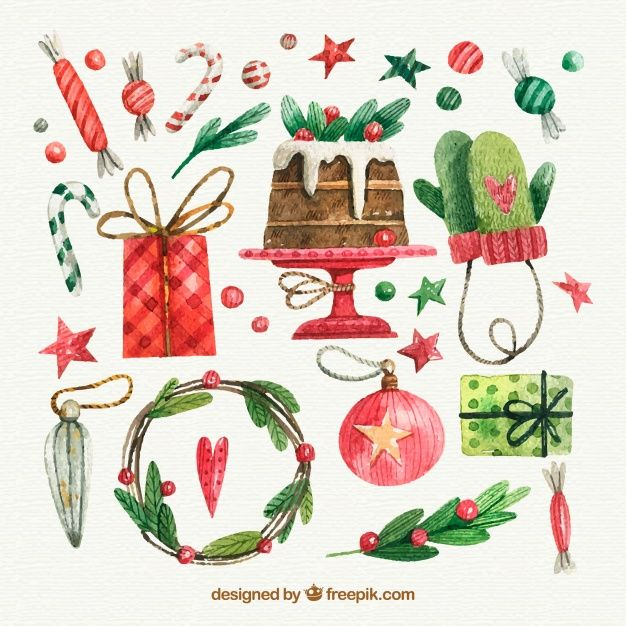 Download Watercolor Christmas Elements Collection For Free