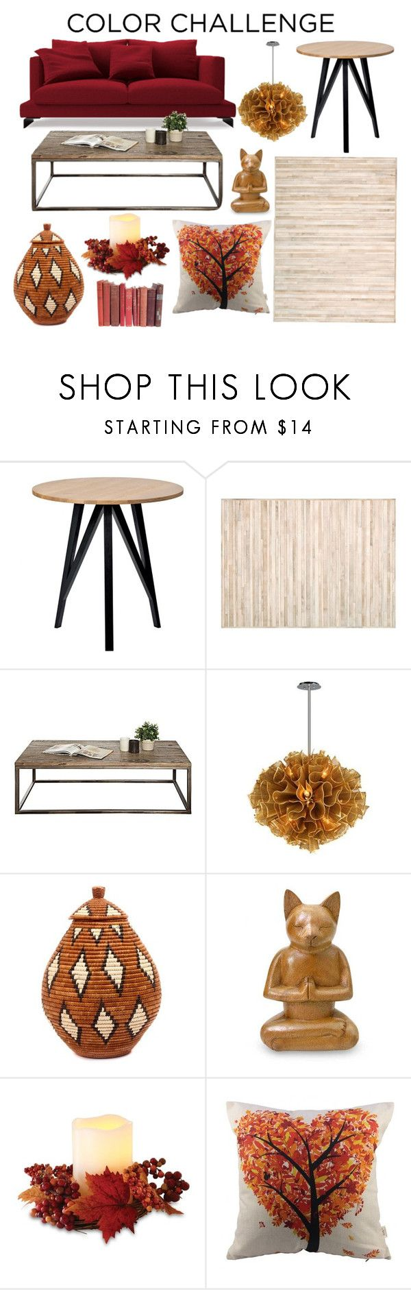 """Pumpkin and Burgundy Decor"" by bloguerosa on Polyvore featuring interior, interiors, interior design, home, home decor, interior decorating, Calvin Klein, Corbett Lighting, NOVICA and Order Home Collection"