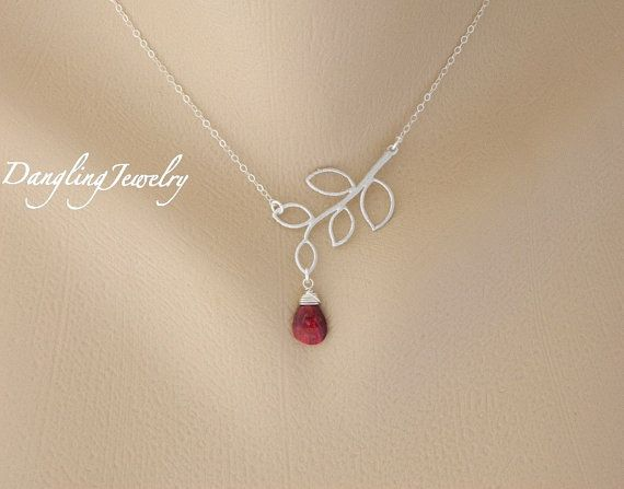 Customized Silver Birthstone Necklace, Ruby Gemstone Jewelry, July Birthday Gift, Bridesmaids Gift, Mothers Jewelry, Sister Necklace
