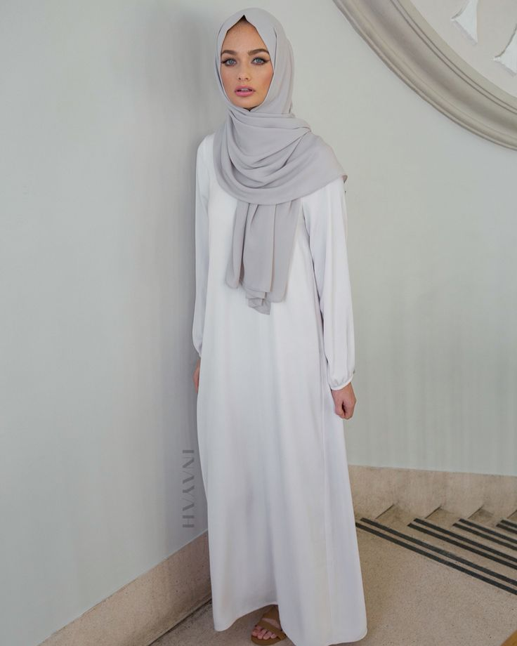 Understated timeless designs and elegant, modest coverage. Nude Classic #Maxi with Belt + Feather Grey Rayon #Hijab - www.inayah.co