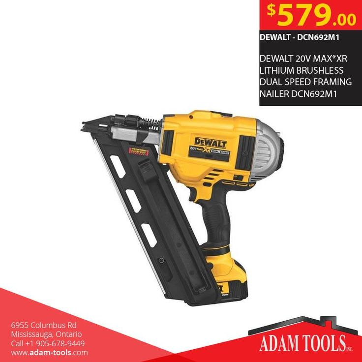 Get the Dewalt 20v max*xr lithium brushless dual speed framing nailer dcn692m1 for just $579 from Adam Tools Inc. visit our website - http://www.adam-tools.com/dewalt-20v-max-xr-lithium-brushless-dual-speed-framing-nailer-dcn692m1.html #canada #mississuaga #power_tools #building_supplies #adamtools #shop_online #buy_online #Powertools #tools #Dewalt #framingnailer