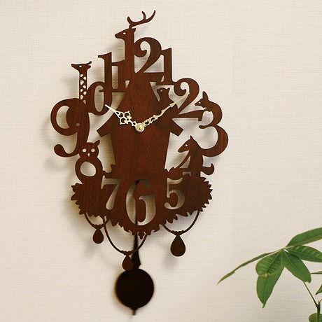 *かわいい動物が隠れた壁掛時計*ウォールクロック TIER -ティーア-