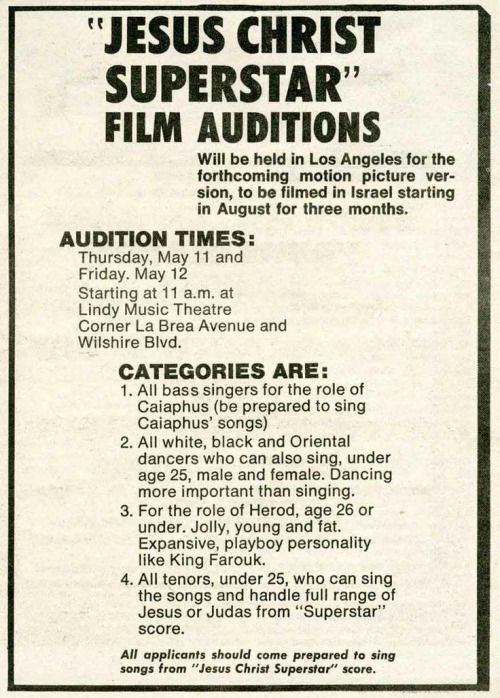1972 Jesus Christ Superstar film auditions in Los Angeles.