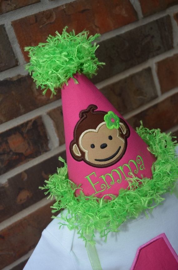Personalized Girl Monkey Birthday Party Hat by MiniExpressions, $20.95