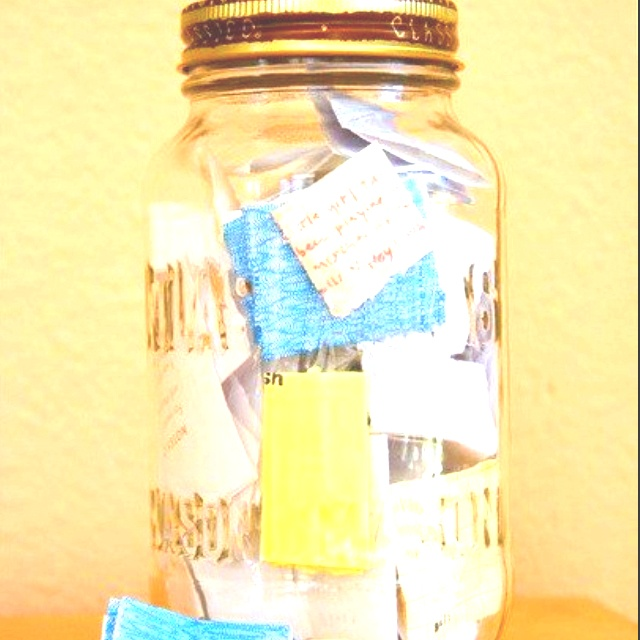 Start with an empty jar and when something good happens to you or your family write a note. Open it on new years day to reminisce about all the good things that happened in the last year :) - from homestead survival fb