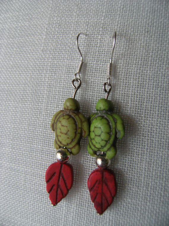 tortugas verdes, Bisutería, Pendientes