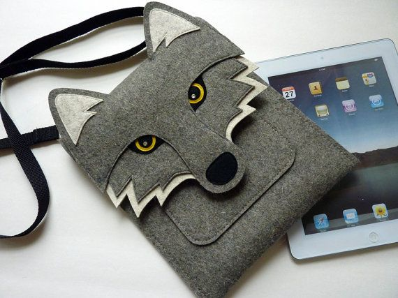 Wolf iPad 2 sleeve  Gray felt  MADE TO ORDER by BoutiqueID on Etsy, $76.00